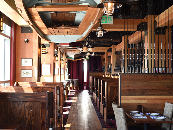 Interior dining area at Bellevue Duke's Seafood Restaurant