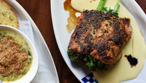 Grilled salmon over broccoli