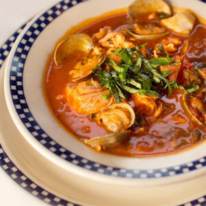 Bowl of Duke's Seafood clam chowder
